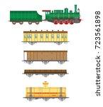 flat  retro railway locomotive  ... | Shutterstock . vector #723561898