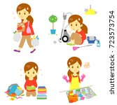annoying household chores ... | Shutterstock .eps vector #723573754