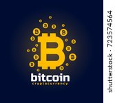 digital bitcoin crypto currency ... | Shutterstock .eps vector #723574564