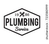 plumbing repair banner  badge... | Shutterstock .eps vector #723580999