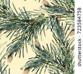 fir twigs seamless pattern.... | Shutterstock . vector #723584758