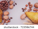Autumn Background With Fruits...