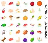 vegetable icons set. cartoon... | Shutterstock .eps vector #723587098