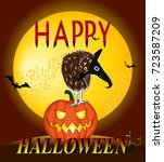 happy halloween card background.... | Shutterstock .eps vector #723587209