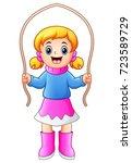 cartoon girl playing jumping... | Shutterstock . vector #723589729