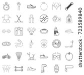 fitness icons set. outline... | Shutterstock .eps vector #723589840