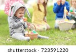 cute little boy with basket on...   Shutterstock . vector #723591220