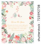 vintage cute wedding... | Shutterstock .eps vector #723592738