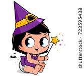 cute baby girl in halloween... | Shutterstock .eps vector #723595438