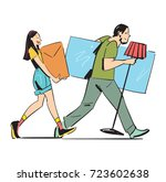young couple carrying home... | Shutterstock .eps vector #723602638