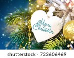 christmas ornament on wooden... | Shutterstock . vector #723606469