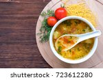 white soup noodles with... | Shutterstock . vector #723612280