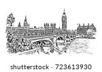 sketch of big ben london  uk ... | Shutterstock .eps vector #723613930