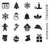 Christmas Icons. Black Flat...