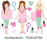 vector set with beautiful young ... | Shutterstock .eps vector #723616750