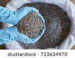 blue latex glove  chemical... | Shutterstock . vector #723624970