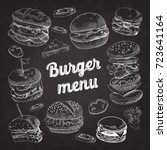 hand drawn burgers on... | Shutterstock .eps vector #723641164