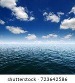 blue sea water surface on sky | Shutterstock . vector #723642586