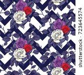 rose seamless pattern  vector... | Shutterstock .eps vector #723645574
