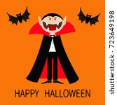 happy halloween. count dracula... | Shutterstock .eps vector #723649198