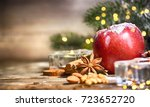 rustic christmas background... | Shutterstock . vector #723652720