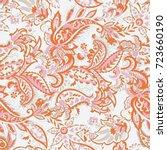 paisley vector seamless pattern.... | Shutterstock .eps vector #723660190