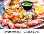 selective focus  seafood...