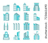 building and tower icons  blue... | Shutterstock .eps vector #723661690