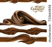 liquid chocolate  caramel or... | Shutterstock .eps vector #723664858