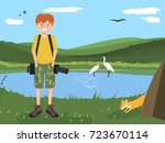 nature photographer young guy... | Shutterstock .eps vector #723670114