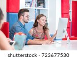 young college students at the... | Shutterstock . vector #723677530