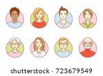 round avatars of women and men. ...