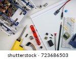 stem or diy electronic kit  ... | Shutterstock . vector #723686503