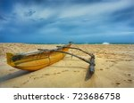 fishing boat.beach and tropical ... | Shutterstock . vector #723686758