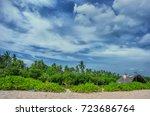 fishing hut tropic.beach and... | Shutterstock . vector #723686764