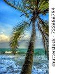 tropical beach with palms.beach ... | Shutterstock . vector #723686794