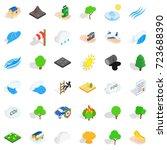 disaster icons set. isometric...   Shutterstock .eps vector #723688390