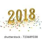 golden sign 2018 on white...   Shutterstock . vector #723689338