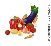 fresh vegetables background.... | Shutterstock .eps vector #723702349