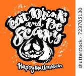 halloween lettering poster ... | Shutterstock . vector #723705130