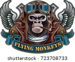 monkey wearing old pilot helmet ...   Shutterstock .eps vector #723708733
