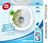 antibacterial toilet cleaner ad ... | Shutterstock .eps vector #723711136