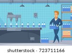 milk conveyor line cartoon... | Shutterstock .eps vector #723711166