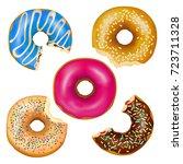 set of realistic eaten donuts...   Shutterstock .eps vector #723711328