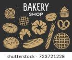 set of bakery vector engraved... | Shutterstock .eps vector #723721228