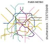 map of the paris metro  subway  ... | Shutterstock .eps vector #723733648