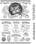 organic menu for restaurant and ... | Shutterstock .eps vector #723753523