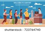 airport queue with people room... | Shutterstock .eps vector #723764740