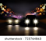 car lights realistic background ... | Shutterstock .eps vector #723764863