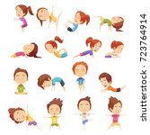 kids yoga decorative icons set... | Shutterstock .eps vector #723764914